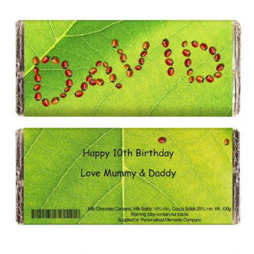 Personalised Ladybird Chocolate Bar